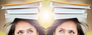 Woman balancing books