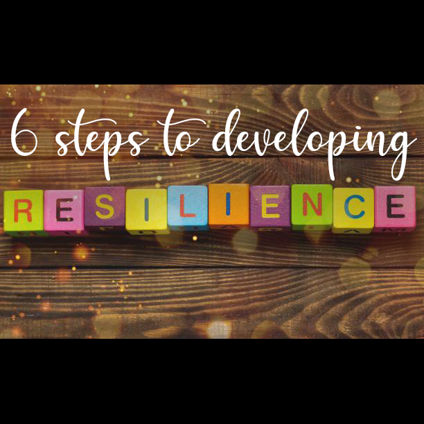 Resilience sign with wooden cubes on background